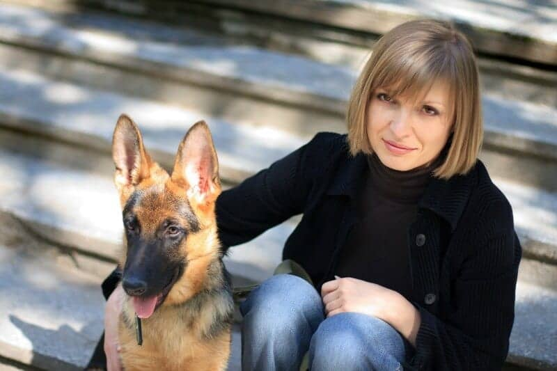 GSD Pup with Woman