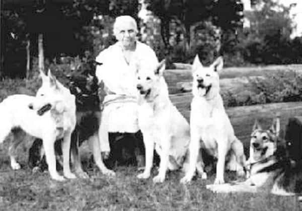 Geraldine Rockefeller Dodge with her German Shepherd Dogs